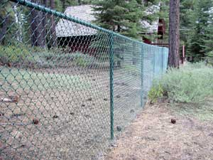 Color coated chain link fencing.
