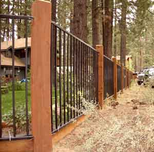 iron fence with wood